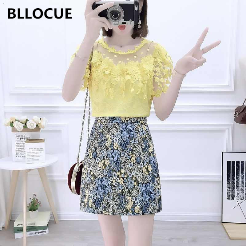 BLLOCUE Ladies Suit Skirts Shirt Floral-Print High-Waist Fashion Summer New Mesh Splice