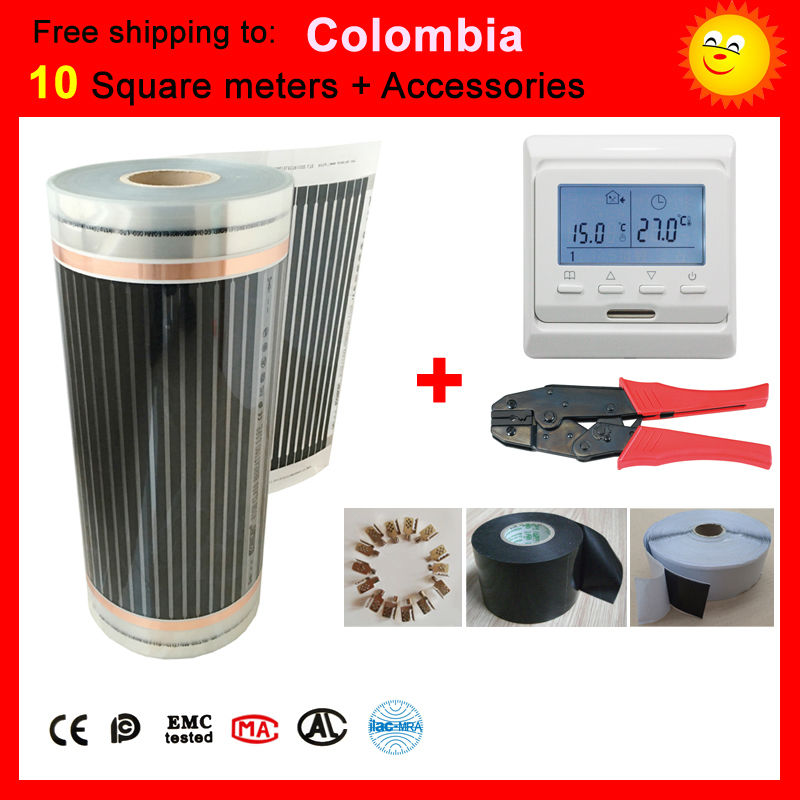 Free shipping to Colombia,10 Square meter under-floor Heating film, far infrared heating film max surface temperature 73degree united kingdom free shipping 50 square meter infrared heating film with accessories under floor heating film 50cmx100m