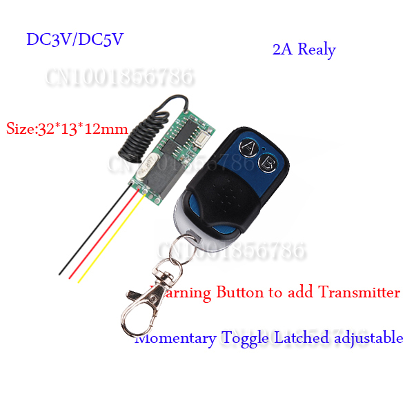 DC5V Relay Learning Code Mini Small Volume Remote Control Switch System Micro Receiver Transmitter Momentary Toggle Latched mini remote control switch system micro dc3v 5v 2a relay 2 receiver transmitter momentary toggle latched learn 315 433