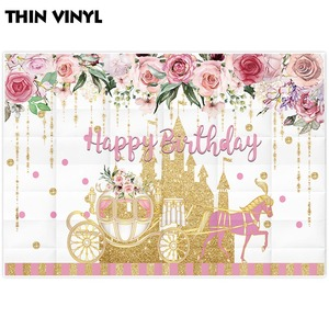 Image 5 - Allenjoy Golden Castle Princess Backdrop Pumpkin Carriage Flower Birthday Background Photo Zone Photoshoot Prop Banner