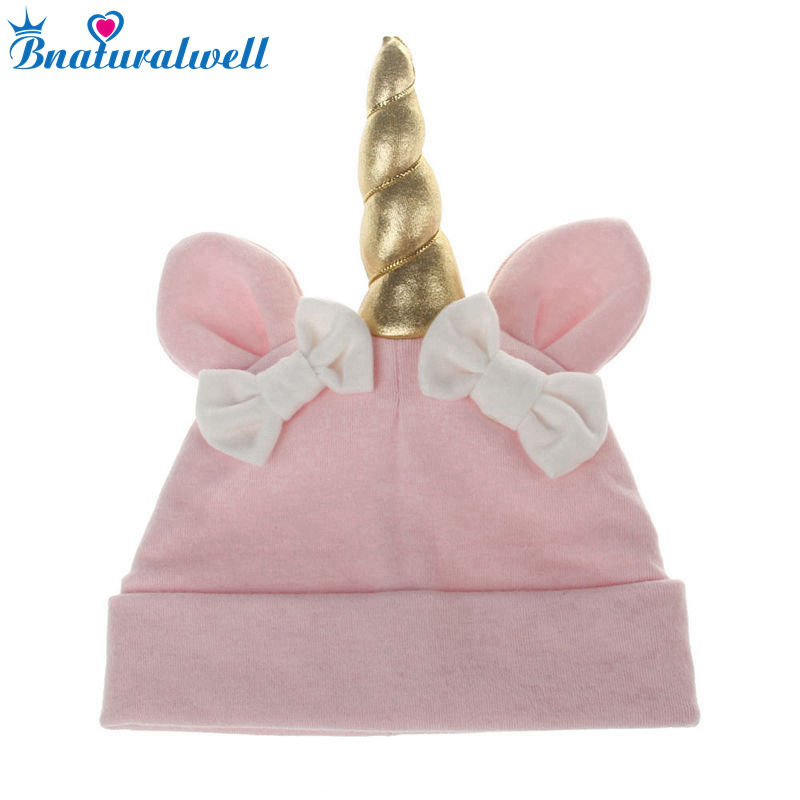 Bnaturalwell Cute Baby Girls Boys Bow Hat Cartoon Beanie Toddlers Cotton Sleep Cap Headwear Hat Unicorn Baby Soft Hats H087S