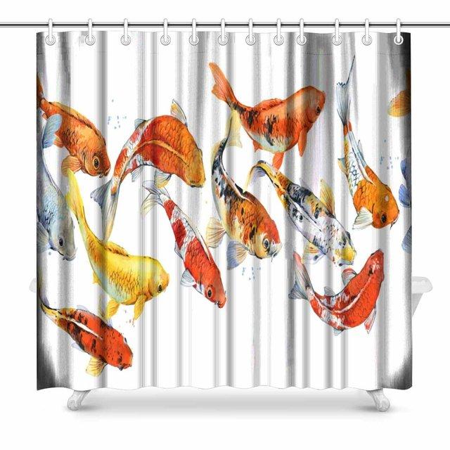 Aplysia Koi Carp Pattern Watercolor Fish Bathroom Shower Curtain Accessories 72 Inches