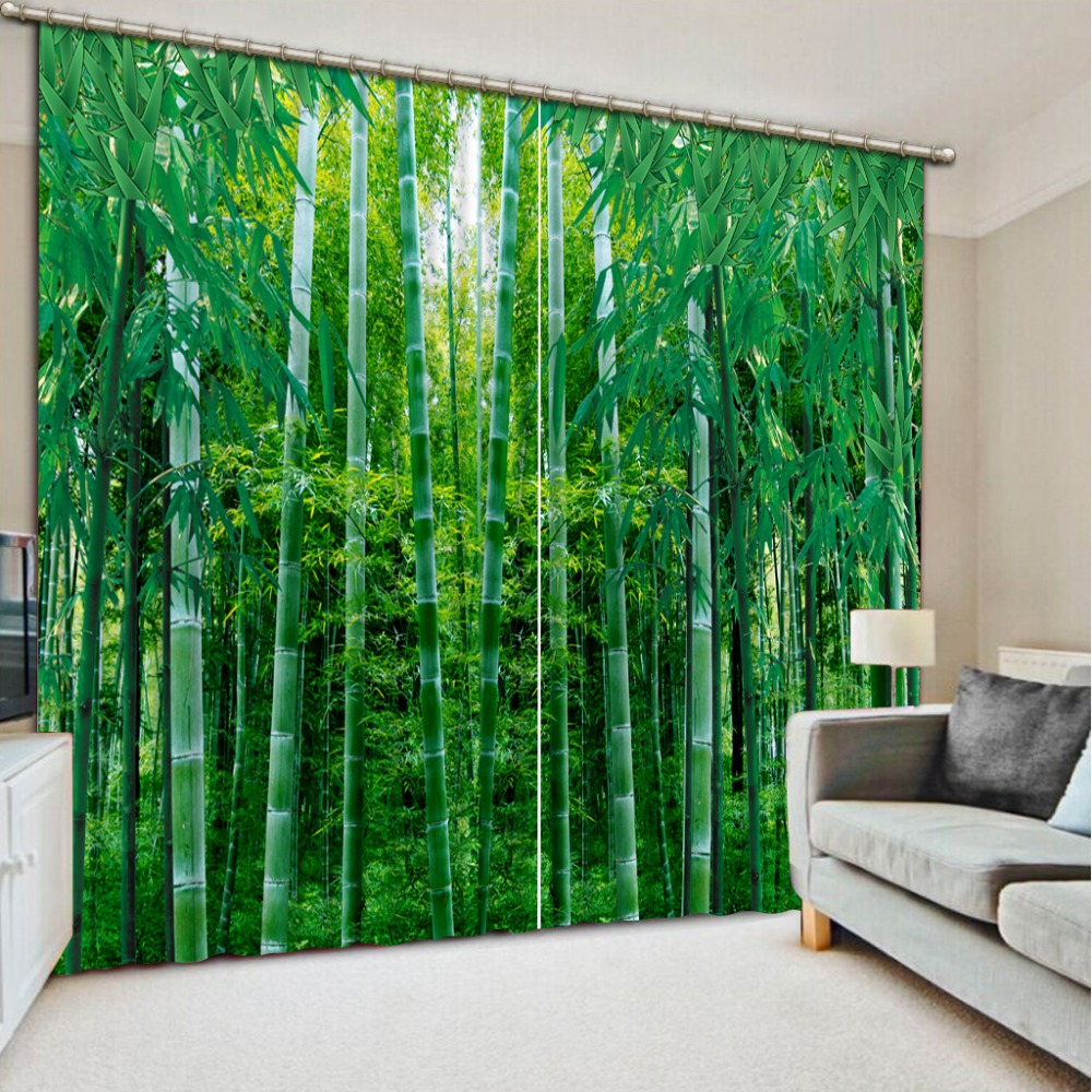 Green curtains for bedroom - Modern 3d Curtains For Bedroom Livingroom Blackout Kitchen Green 3d Bamboo Curtains Decoration Window Curtains