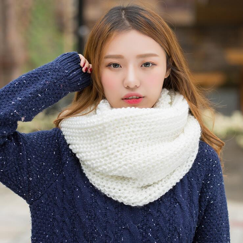 2020 Fashion New Unisex Winter Scarf Knitted Scarves Collar Neck Warmer Woman's Crochet Ring Spain Loop Women Scarves For Lady