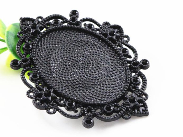 New Fashion 2pcs 30x40mm Inner Size Black Pierced Style Cabochon Base Setting Charms Pendant (B2-25) pierced