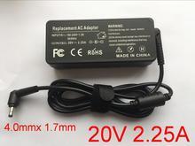 1 pcs 20 V 2.25A 4.0*1.7 millimetri Adattatori per Notebook Caricabatteria per Lenovo IdeaPad 310 110 100 di YOGA 710 510 flex 4 5A10K78750 PA 1650 20LK