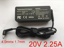 1 sztuk 20 V 2.25A 4.0*1.7mm Adapter do laptopa ładowarka do Lenovo IdeaPad 310 110 100 joga 710 510 Flex 4 5A10K78750 PA 1650 20LK