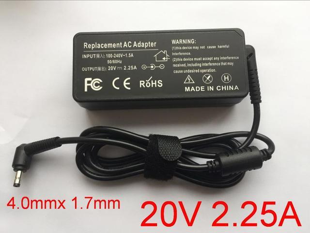 1pcs 20V 2.25A 4.0*1.7mm Laptop Adapter Charger for Lenovo IdeaPad 310 110 100 YOGA 710 510 Flex 4 5A10K78750 PA 1650 20LK