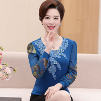 2017 New Mother Clothing Spring Autumn Basic Chiffon Shirt Middle Age Women Long Sleeve Tops