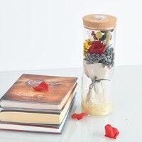 WR Regalos de Navidad Romántica Flor Inmortal Red Rose w/Glass Dome Luces LED Real Rosa Brillante, Flor De San Valentín día