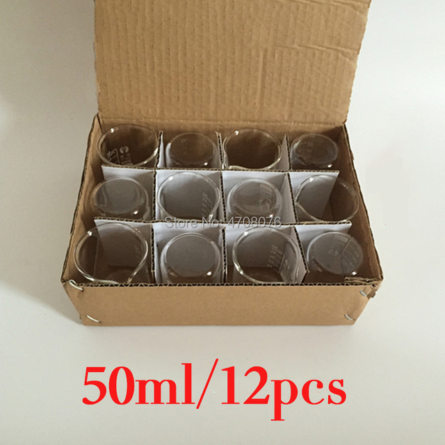 50ml 12pcs/set Pyrex Beaker borosilicate glass Lab glassware chemical measuring cup flat bottom for scientific test