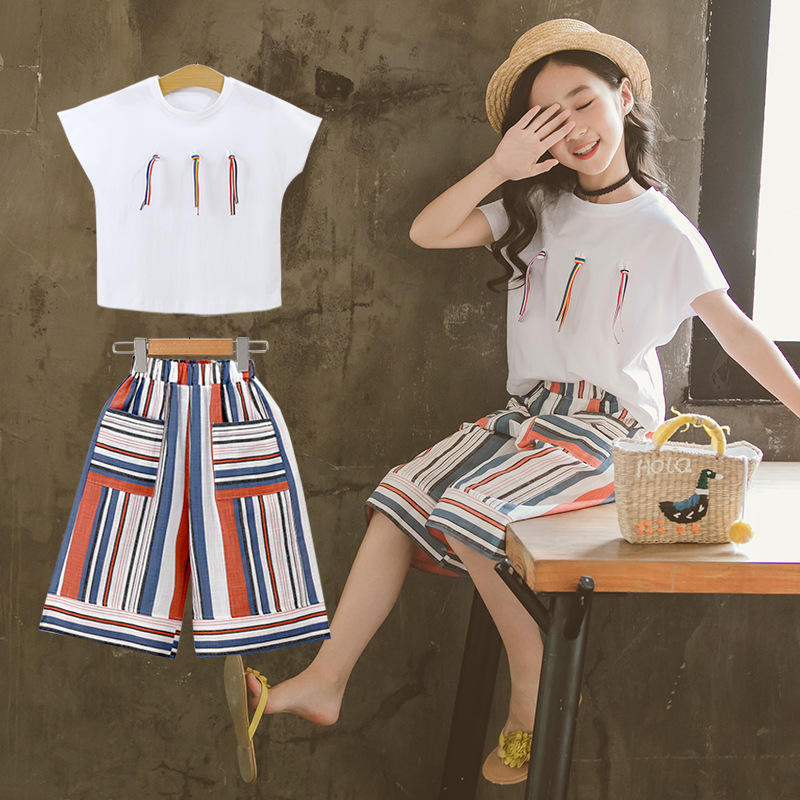 New Women Clothes Units 2019 Summer time Informal Fashion Trend t Design Brief Sleeve + Pants 2Pcs Youngsters Clothes Units Clothes Units, Low cost Clothes Units, New Women Clothes...