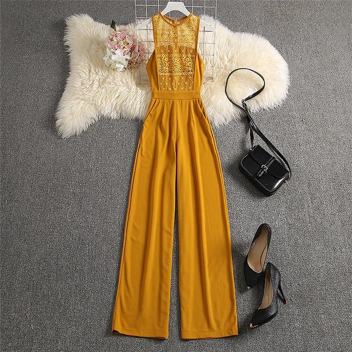 Lace High Waist Yellow Elegant Jumpsuit 22