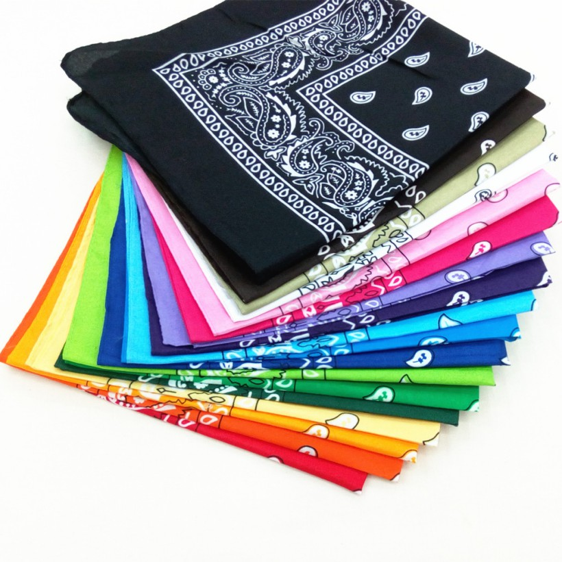 1PC High Quality Headtie Square Scarf Unisex Bandana Hip Hop Black Paisley Headwear Hair Band Scarf Neck Wrist Wrap Band(China)