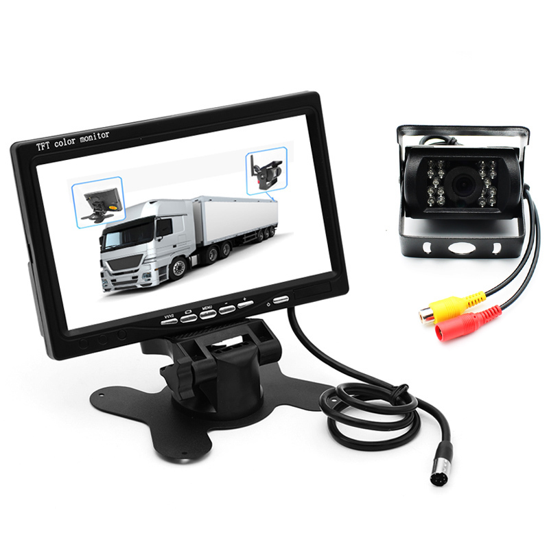 Car Truck Bus Parking Assistance 7 TFT LCD Color Rear View Monitor with 2 Video Input + Backup 18 IR LED Camera IP68