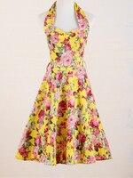 Gelb print kleider vintage rose kreis flare kleid knielangen vestido curto vetements femme robe rock n roll kleidung retro xl