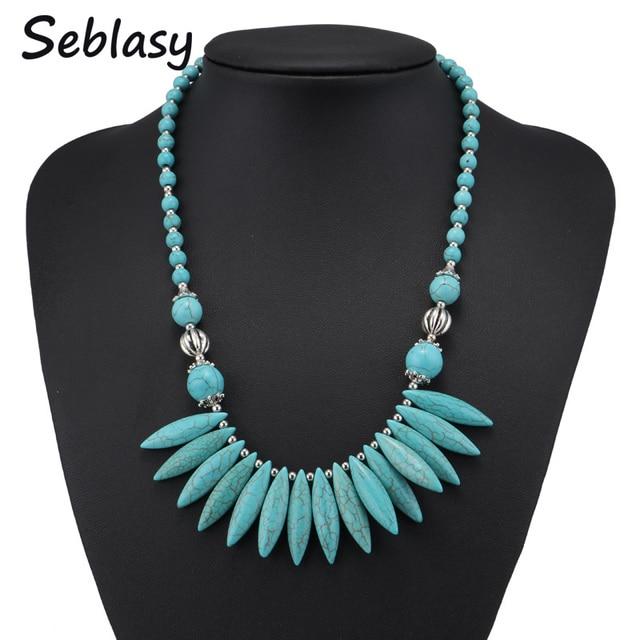 Seblasy Brand New Ethnic Bohemian Natural Stone Spike Tassel Necklaces & Pendants Beads Chain Choker Statement Necklaces Women