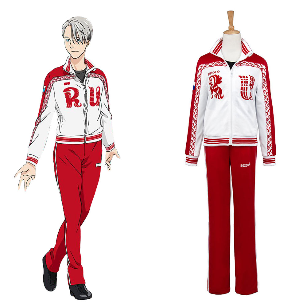 New Victor Nikiforov Costume Yuri on Ice Victor Nikiforov Uniform Cosplay Costume Jacket Pants Shirt Halloween Party Male Female