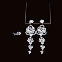 A Pair Of Women Earrings Fashion Jewelry Ear Piercing Rhinestone Long Chain Tassel Style Clear Crystal
