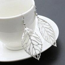 ER027 Горячей моды серьги Оптовые ювелирные изделия металлические листья серьги болтались длинные серьги Заявление для женщин Bijoux
