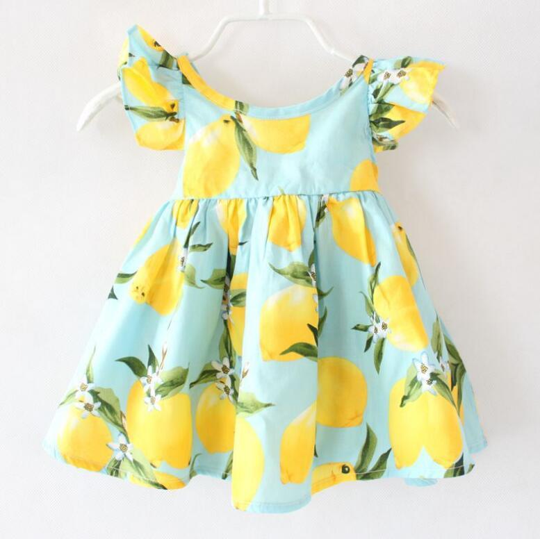 Hot Sale New 2017 Summer Girl Dress Fruit Lemon Pattern Baby Girl Dress Children Sundresses Kids Fly Sleeve Dresses tyh-50804