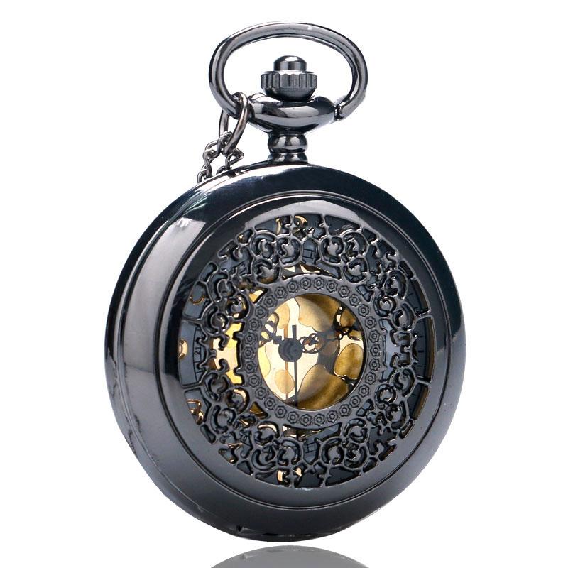 Vintage Pendant Hollow Exquisite Grilles Elegant Retro Gift Men Women Pocket Watch with Silver Quartz Necklace Chain Pocketwatch 2017 Christmas Gifts (24)