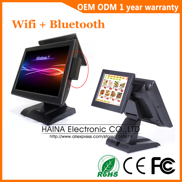 Haina Touch 15 Inch Dual Screen Touch Screen Pos systeem Met Msr Kaartlezer