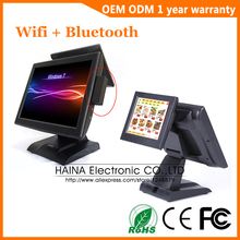 Haina touch 15 인치 듀얼 스크린 터치 스크린 pos 시스템 (msr 카드 리더기 포함)