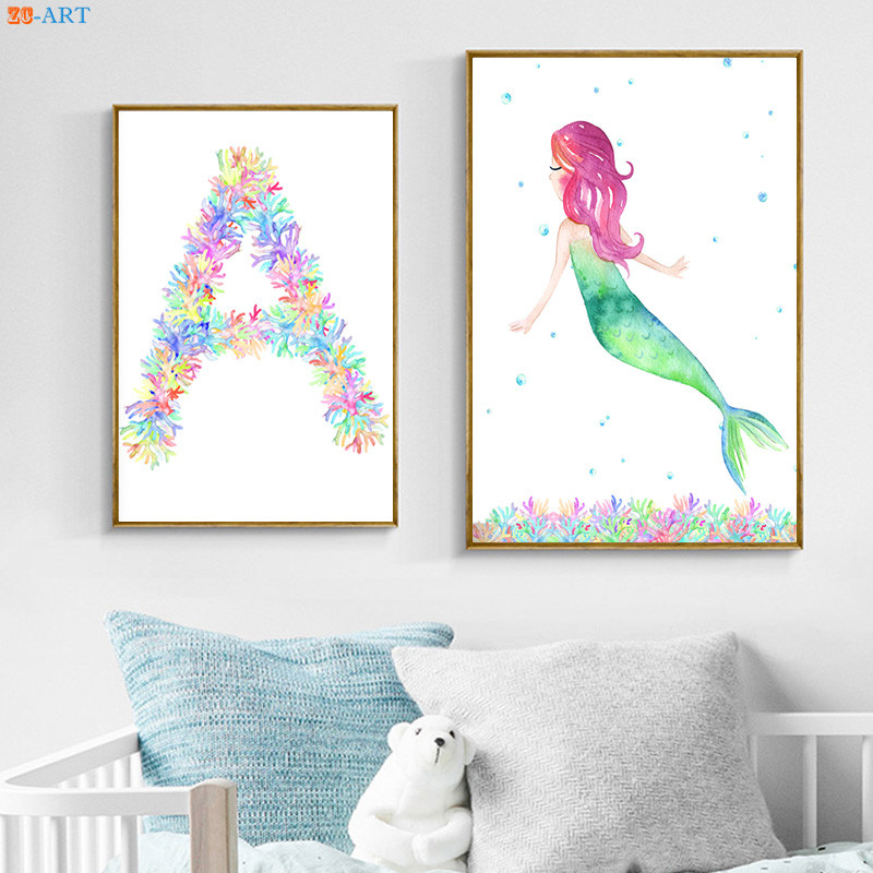Cartoon Canvas Painting Mermaid Poster A Print Nursery Wall Art Little S Room Kids Bathroom Home Decor In Calligraphy From Garden On