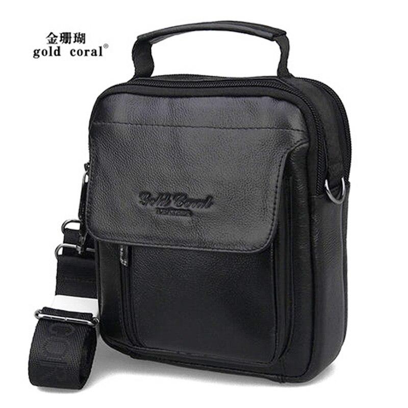 100% Genuine Leather Men Messenger Shoulder Cross Body Pack Travel First Layer Cowhide Fanny Waist Belt Tote Hand Bag