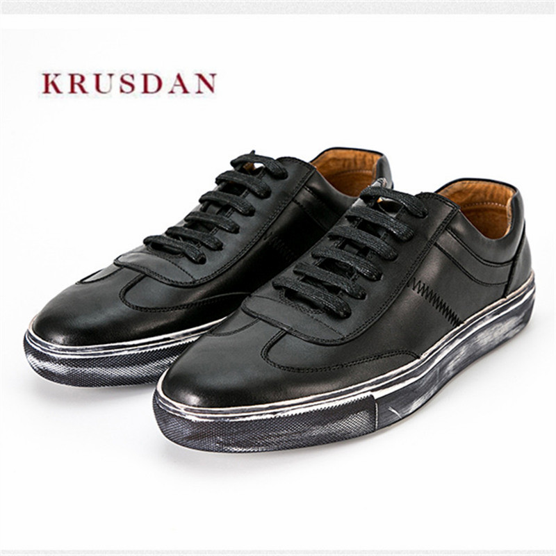 KRUSDAN Black Casual Men Shoes Genuine Leather Flats Lace-Up Vulcanized Shoes Men's Fashion Breathable Sports Sneakers Footwear 2018 genuine leather men s vulcanized shoes black white mans footwear flats sneakers casual shoes sapato masculino