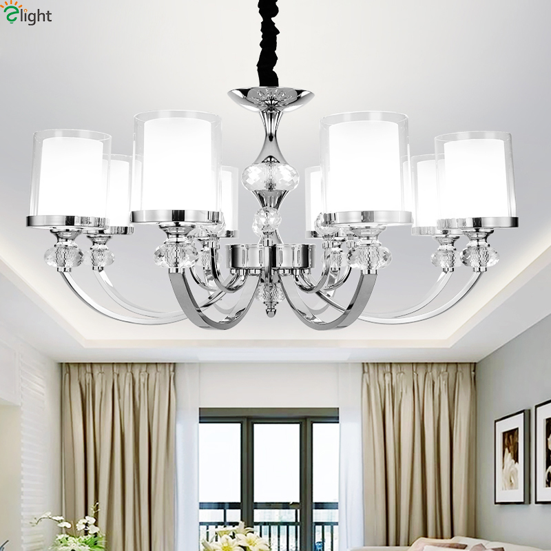 Modern Chrome Metal Led Pendant Lights Lustre Crystal Living Room Led Pendant Lamp Dining Room Led Pendant Light Hanging Lights egypt imported crystal 8 light pendant lights in ball shape chrome pl1040
