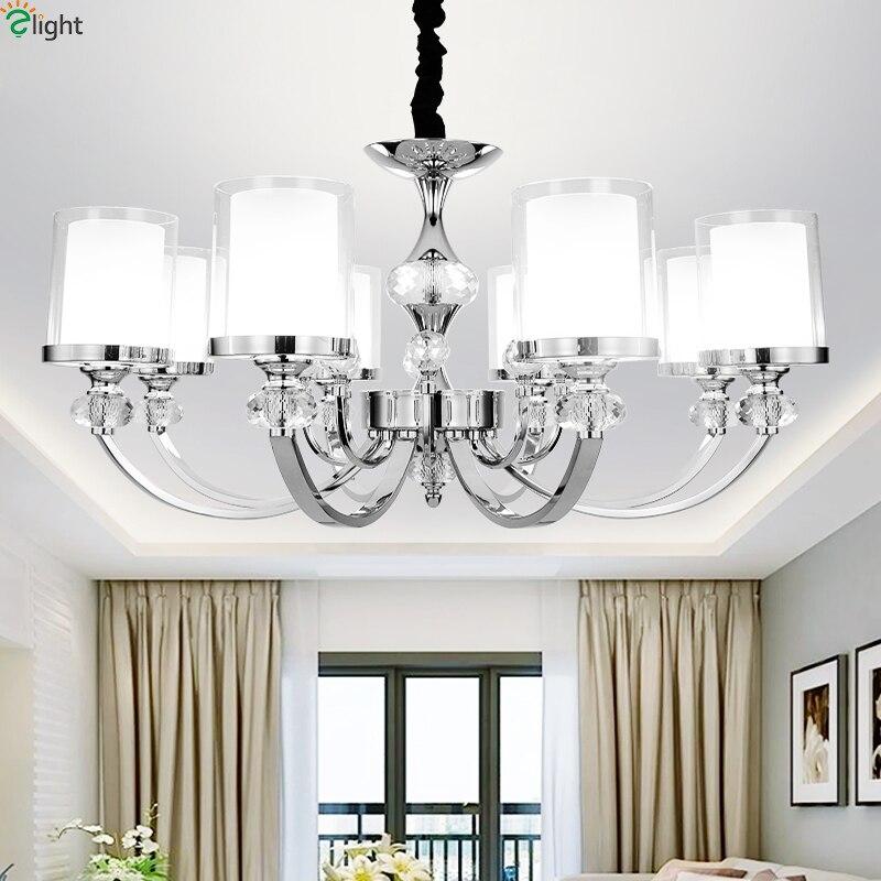 ᓂModerno cromo Metal Led luces colgantes Lustre cristal Sala Led ...