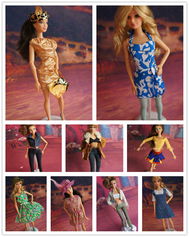 100Sets lot Factory Wholesale Casual Clothes Denim Suits For Barbies Mixed Styles Clothing Sets Girl Doll