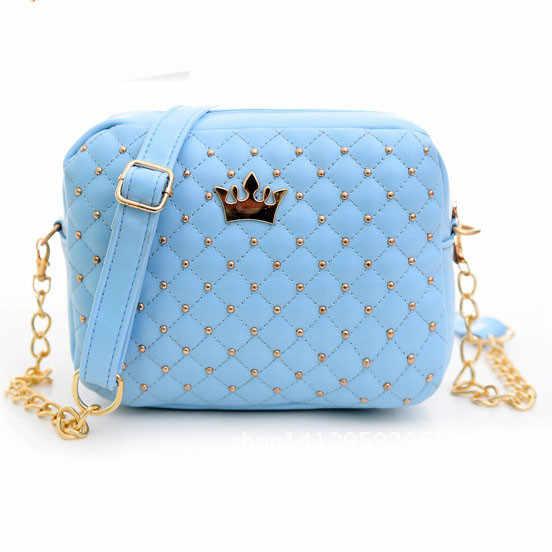 ミニ王冠の女性のメッセンジャーバッグリベットチェーンショルダーバッグ小さな女性のバッグの革ハンドバッグのための女性 Bolso mujer