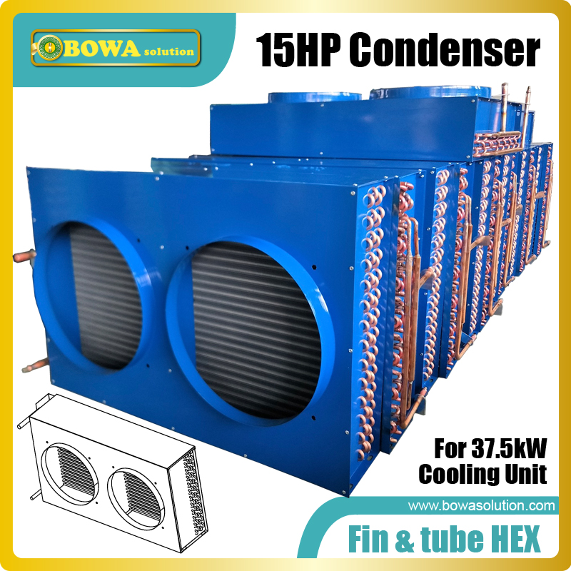 15HP fin & tube heat exchanger is great choice to work as condenser of blast freezer, 2- stage compressor units or cascade units