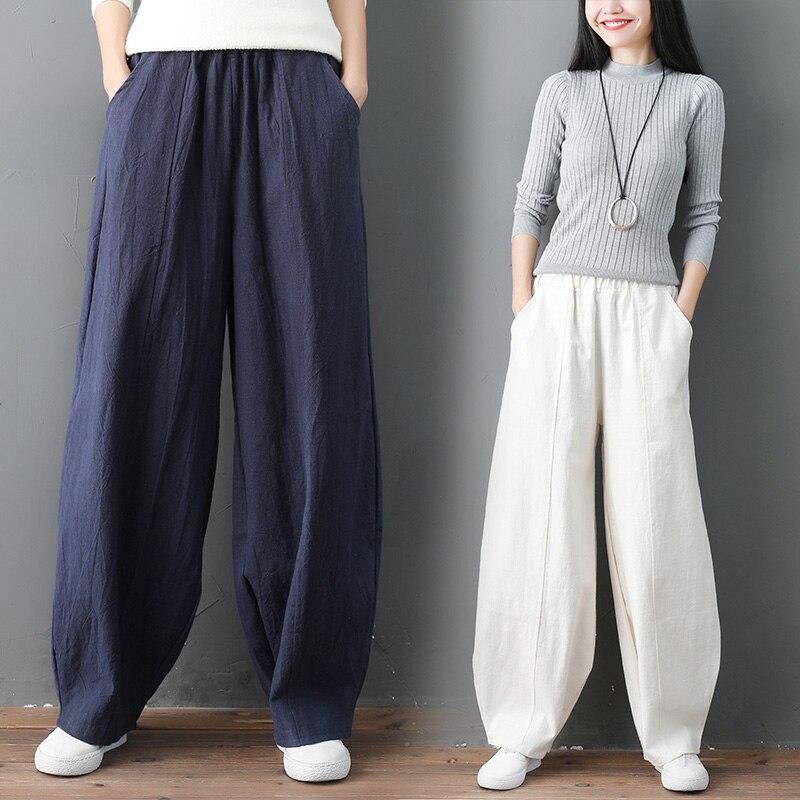 Women Cotton Linen Casual Harem Pants Elastic Waist Pockets Loose Trousers M-6XL