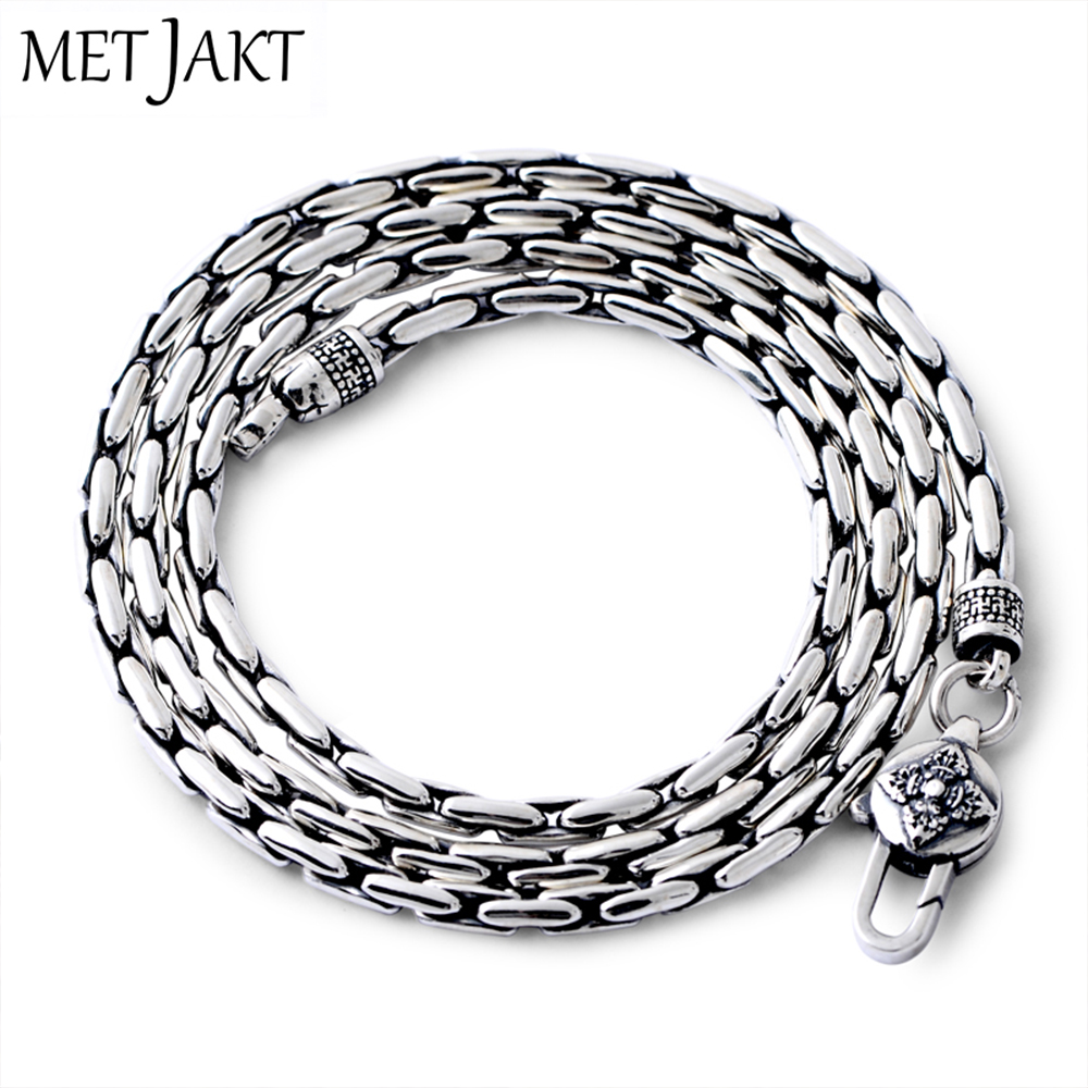 MetJakt Classic Bamboo Chain Necklace Solid 925 Sterling Silver Clavicle Chain for Women and Men Vintage Thai Silver Jewelry a suit of vintage solid color link chain necklace and bracelet for men