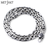 MetJakt Classic Bamboo Chain Necklace Solid 925 Sterling Silver Clavicle Chain for Women and Men Vintage Thai Silver Jewelry