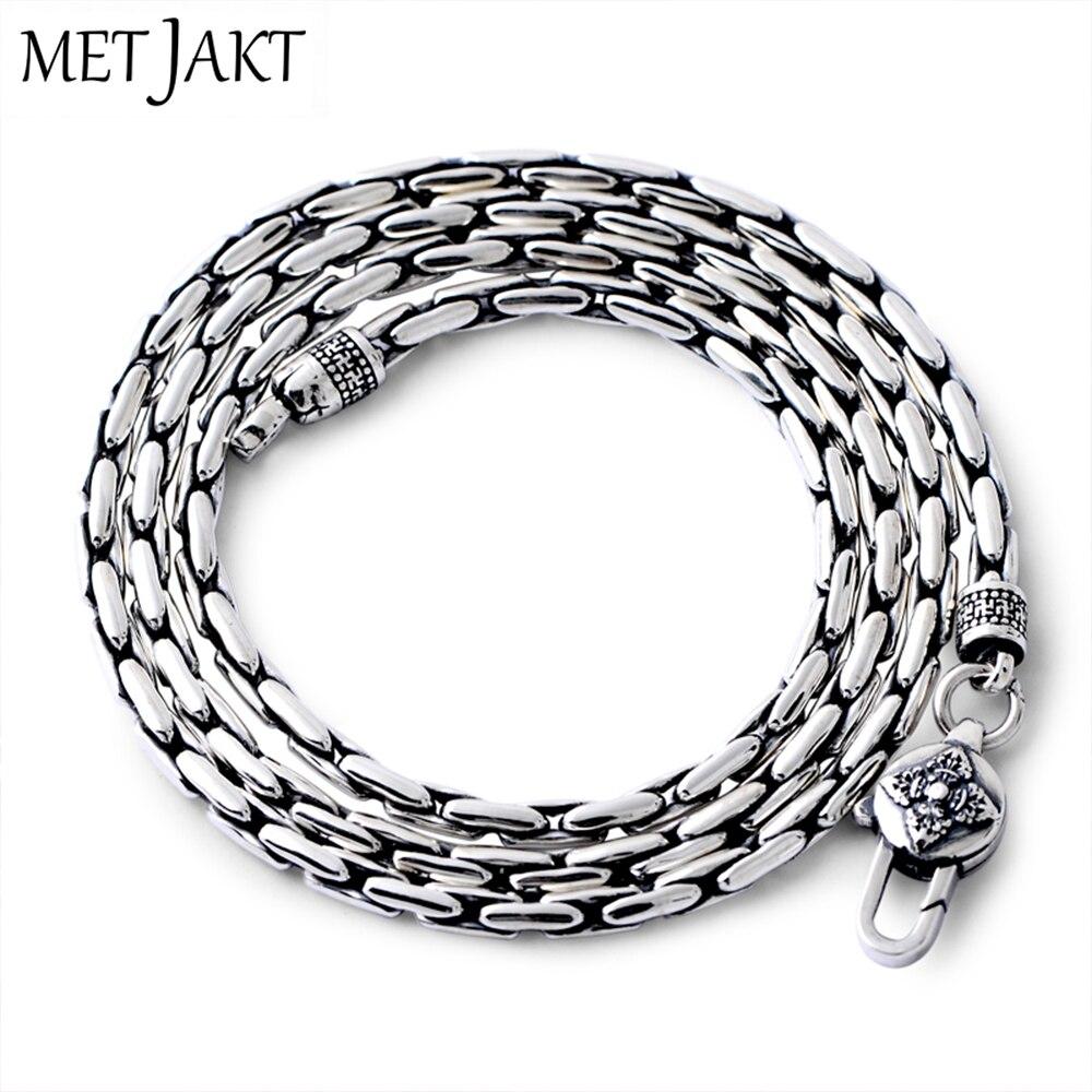 MetJakt classique bambou chaîne collier solide 925 en argent Sterling clavicule chaîne pour femmes et hommes Vintage Thai argent bijoux