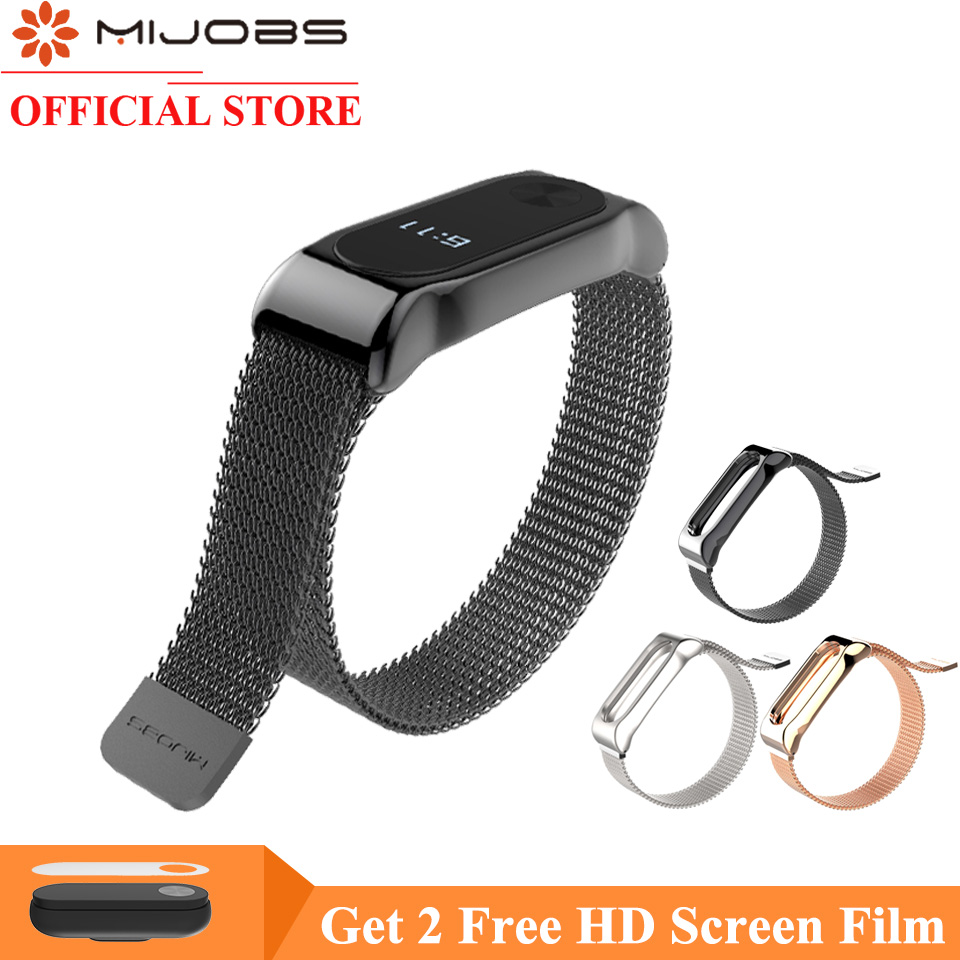 Mijobs Mi Band 2 Strap Bracelet for Xiaomi Mi Band 2 Wrist Strap Mi Band2 Smart Band Strap MiBand 2 Wristband Magnet Metal milanese loop bracelet for xiaomi mi band 2 strap stainless steel metal wrist band for xiaomi mi band2 replacement wristband