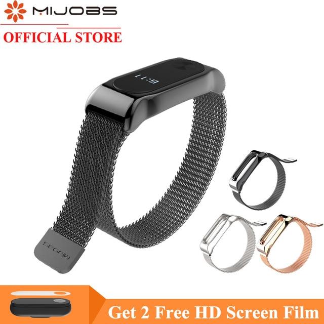 Mijobs Mi Band 2 Strap Bracelet for Xiaomi Mi Band 2 Wrist Strap Mi Band2 Smart Band Strap MiBand 2 Wristband Magnet Metal