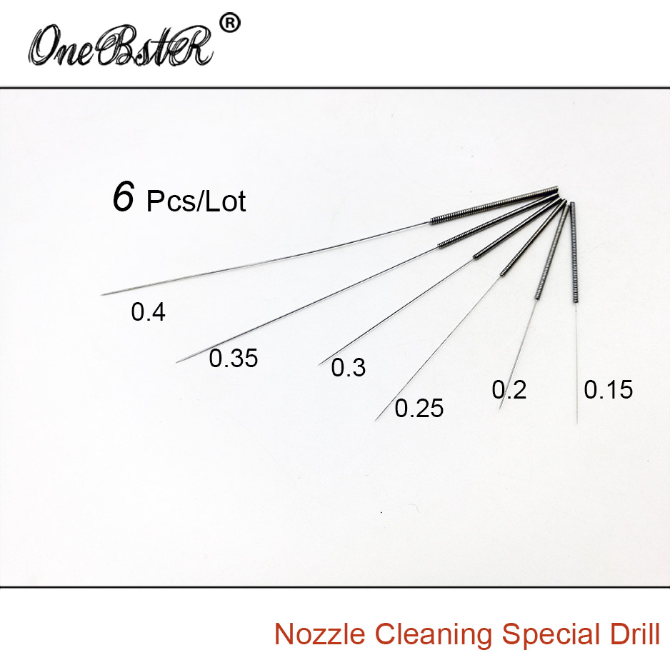 6Pcs/Lot 3D Printer Accessories Nozzle Cleaning Special Drill Cleaner Stainless Steel Needle Super Toughness Artifact