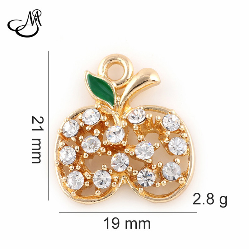 50pcs/lot Fruit Dangle Charms Necklace Pendant Gold/Silver Alloy Crystal Peach charm pendant Handmade findings jewelry FA553