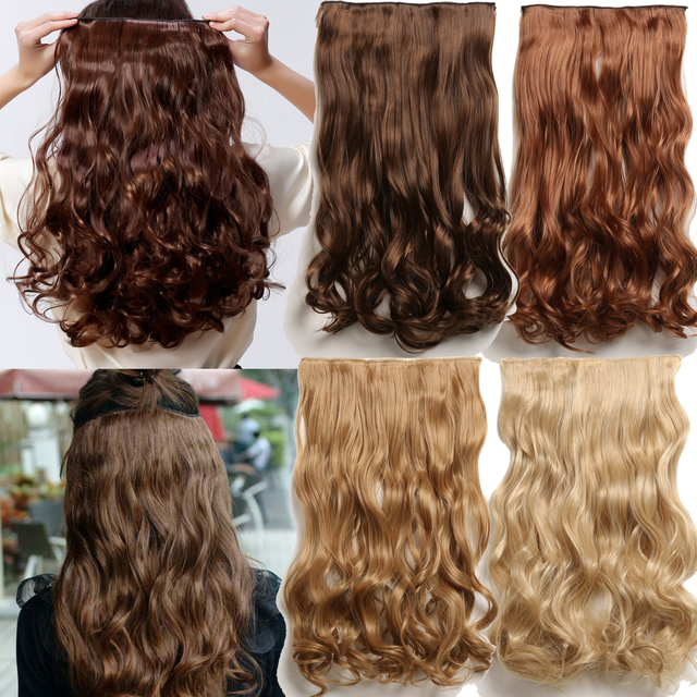 """False Hair 24"""" Long Apply Hair Clips On the HairPieces Mega Hair Extensions Curly Synthetic Extensions Clip Hairpiece Full Head"""