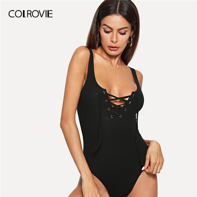 COLROVIE Solid Lace Up Front Rib Knit Heathered Skinny Bodysuit Women 2019 Summer Sexy Straps Sleeveless Ladies Young Bodysuits