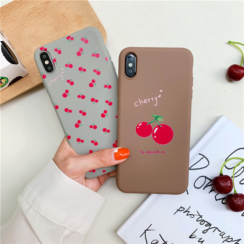 KIPX1099_4_JONSNOW Phone Case For iPhone 7 8 Plus 6S 6 Plus XS XR XS Max Cherry Pattern Soft Silicone Case Back Cover Capa Coque Fundas