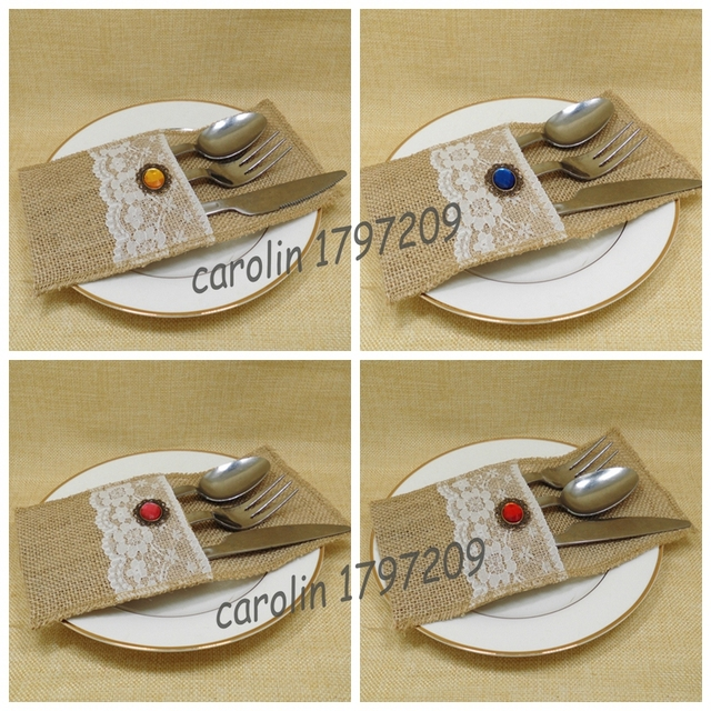 12 pcslot restic country wedding table silverware holder natural burlap cutlery pockets knife u0026 - Silverware Holder