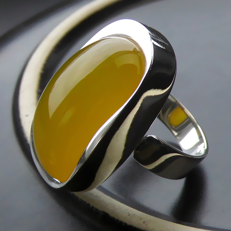 Natural Yellow Stone Ring 925 Sterling Silver Bague Femme Wedding Punk Statement Pure S925 Thai