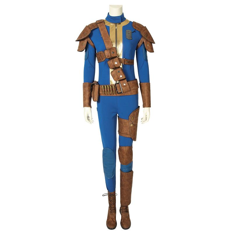 Game Fallout 4 Fallout 76 Costume Vault 76 Sole Survivor Cospaly Jumpsuit Halloween Outfit Full Set with Boots Custom Made